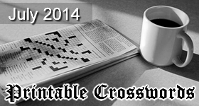July 2014 Printable Crossword Puzzles